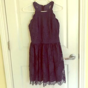 ALTARD STATE NAVY SCALLOPED DRESS